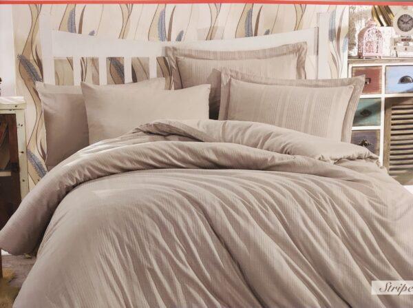 Спален комплект памучен сатен в бежово
