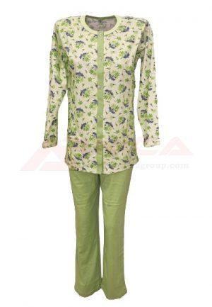 Дамска пижама с копчета зелена