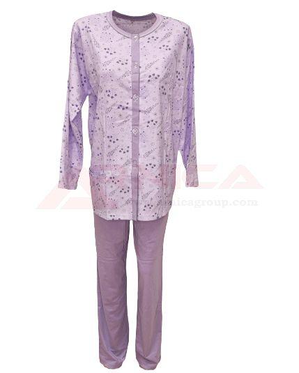 Дамска пижама с копчета лила