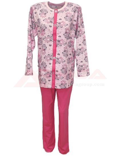 Дамска пижама с копчета розова