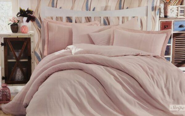 Спален комплект памучен сатен в розово