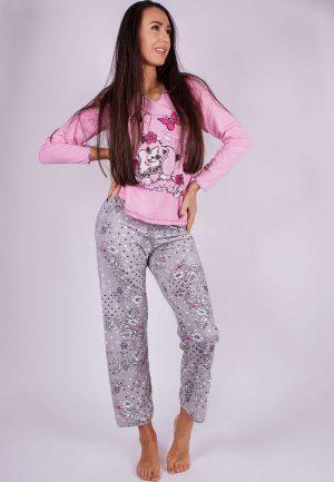 Дамска пижама пениран памук с щампа