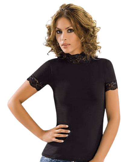 дамска тениска с дантелено полуполо