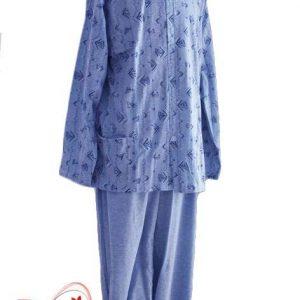 Пижама с цяло закопчаване синя