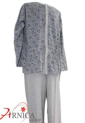 Мъжка пижама с копчета сива
