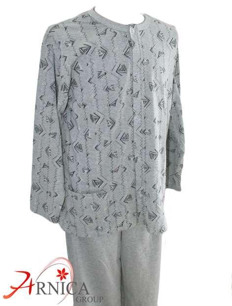 Мъжка пижама с копчета зелена