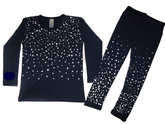 детска пижама с клин звездички