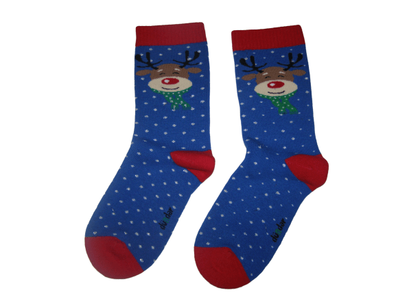 Коледни термо чорапи синьо еленче