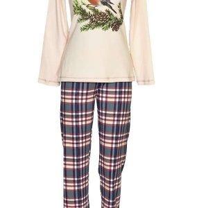 Дамска зимна пижама интерлог с щампа