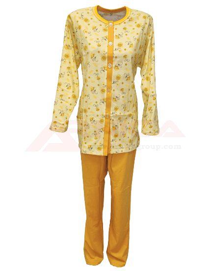 Дамска пижама с копчета жълта
