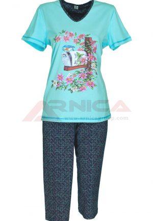 Дамска пижама къс ръкав 7/8 панталон Цветя