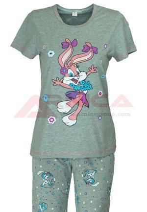 Дамска пижама къс ръкав дълъг панталон Заек