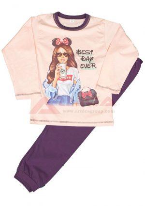 Детска пижама пениран памук Момиче