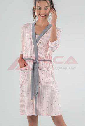 Комплект къса пижама с халат вискоза