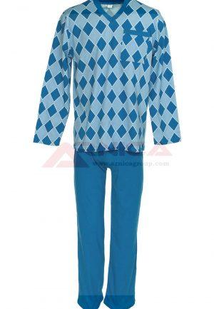 Пижама ромб в синьо