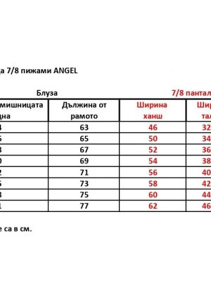 таблица 7,8 пижами ангел