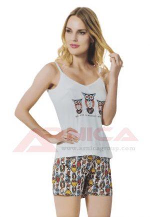 Дамска пижама с тънки презрамки Бухалчета