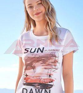 Дамски тениски с картинки бяла