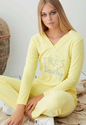 Дамска пижама вискоза в жълто