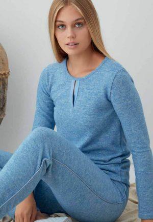 Дамска плътна пижама в синьо