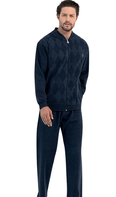 Мъжки зимен домашен комплект с цип Ромб
