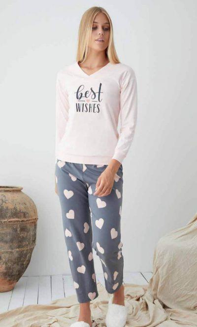 Памучна пижама Сърца